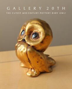 CUTE! MID CENTURY MODERN POTTERY BABY OWL SCULPTURE! 50S ATOMIC DECOR ACCENT VTG