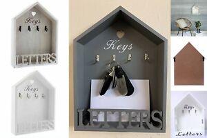 WHITE, GREY & NATURAL WOODEN LETTER RACK & KEY HOLDER HOOKS HOUSE STORAGE RACK