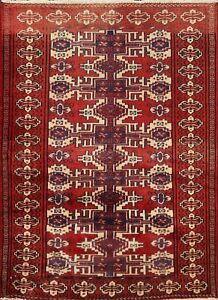 Vintage Geometric Traditional Oriental Area Rug Hand-Knotted Wool 3x3 ft Square