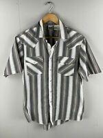Express Rider Men's Vintage Short Sleeve Shirt - Pearl Snap Buttons Size Medium