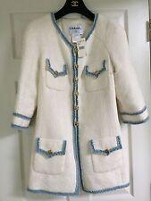 CHANEL 07P NEW TAGS TWEED ECRU BLUE JACKET GOLD CC logo buttons FR42 $6K
