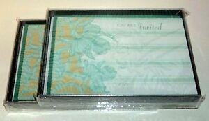 20 Invitations & 20 Envelopes - Theme: Scrolling Irises NIB By Pepper Pot