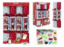 Pack of 12 Christmas Crackers With Post Box & Red Bus Design (ES505)