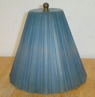 Vintage Art Deco Blue Ribbed Cone Art Glass Boudoir Table Lamp Shade w/ Bracket
