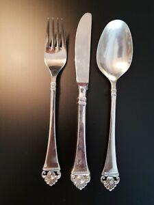 Robbe und Berking, 3 tlg. Besteck, Menü, Rosenmuster, 150er Silberauflage