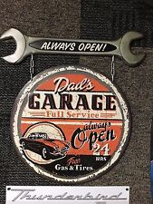DAD'S GARAGE FULL SERVICE OPEN 24 HOUR METAL SIGN. REPRODUCTION NEW