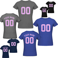 Custom tshirt ,Personalized Name & Number Rose golde Print Women's Team t shirt