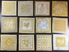 MAKOWER Christmas Fabric Squares Gold Silver Snowflakes Star 12 Appliques RARE