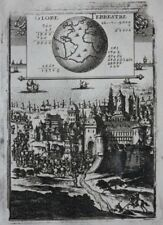 Original antique map GLOBE, WORLD, MASS OF WATER & LAND ON EARTH, Mallet, 1683