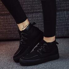 Korean Fashion Womens Canvas High Top Lace Up Ankle Boots Flats Casual Shoes AU