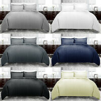 Satin Stripe Duvet Quilt Cover Bedding Set Single Double King Size W Pillowcases