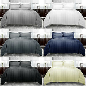 Satin Stripe Duvet Quilt Cover Bedding Set Single Double King Size W Pillowcases