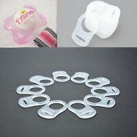 10 Silikonring Adapter Clip Schnullerketten transparent-Klar Schnullerhalter NEU