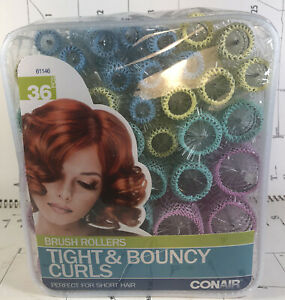 Conair Brush Rollers For Short Hair Tight & Bouncy Curls - Set of 36 NEW