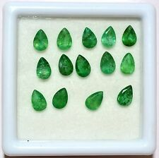 5.95 Cts Certified Natural Emerald Pear Cut 6x4 mm Lot 14 Pcs Green Gemstones