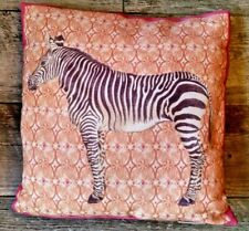 "Pottery Barn Zebra Indoor Outdoor Pillow Throw Pink Coral 18"" Square"