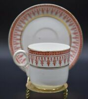 Thomas Morris English Staffordshire Vesta Red & Gold Transferware Cup & Saucer