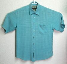 BUGATCHI UOMO Mens Teal Blue Short Sleeve Button Front Medium Shirt EUC