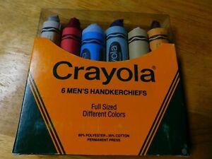CRAYOLA VINTAGE 6 PACK MEN'S HANDKERCHIEFS/NEW IN PACKAGE/COTTON BLEND