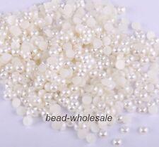 2000Pcs Half Round Bead Flat Back Acrylic Pearl Scrapbooking Craft 2-8MM