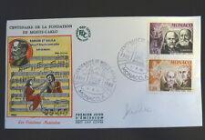MONACO PREMIER JOUR FDC YVERT  696/97   ST SAENS+ RAVEL+     0,95+1,30F     1966
