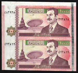 IRAQ 10000 IRAQI DINARS P89 2002 SADDAM UNC UNCUT SHEET OF 2 > PAIR < BANK NOTE