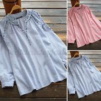 ZANZEA Women Retro Floral Embroidery Tops Long Sleeve V Neck Loose Shirt Blouse