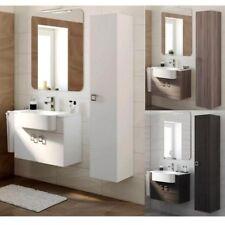 Mobile Arredo Bagno 70+30 cm bianco larice grigio scuro con lavabo e specchio 1