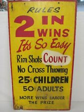 Vintage CARNIVAL GAME SIGN - Large, Hand Painted Wood - Ball Toss