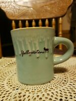 Yellowstone Park Stoneware Souvenir Coffee Mug Moose Green Glaze Drip Heavy