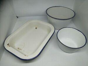 3 X Vintage Enamel Ware Bowls