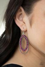 Paparazzi jewelry Pink Hematite Rhinestone Silver Studded Earrings New