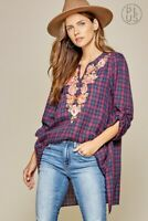 Plus Size Boho ANDREE BY UNIT Embroidered Plaid Tunic Top Long Sleeve 1X 2X 3X