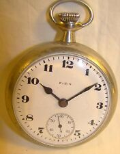Antique Elgin White Face Sub Second Hand Deco Style Working Pocket Watch