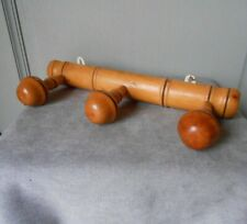 Vintage French Wood COAT & HAT Rack w/ 3 PEGS  FAUX BAMBOO Style