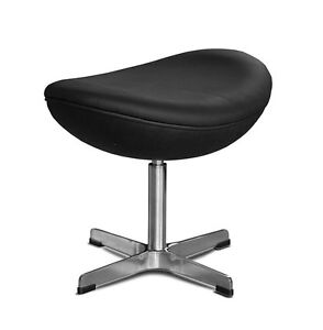 Rotatable Ergonomic Sitting Stool Footrest Genuine Leather Black