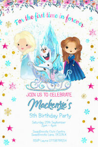 Personalised Disney's Frozen Birthday Party Invitations Frozen Elsa and Anna V12