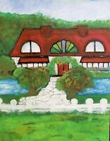 "Painting Original ""the cottage"" 16x20 Acrylic on stretch canvas Leslie Fannon"