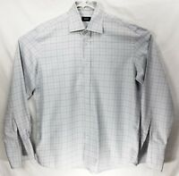 Hugo Boss Large Regular Fit 100% Cotton Gray Check Dress Shirt