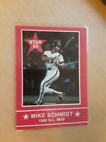 1983 Star Mike Schmidt Philadelphia Phillies #6 Baseball Card, HOF, 3rd Baseman.