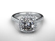 3 CT CUSHION CUT F/SI1 DIAMOND HALO ENGAGEMENT RING 14K WHITE GOLD