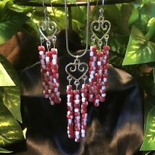Red and White Beaded Heart Earring and Necklace Set