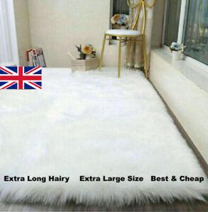 Fluffy Rugs Anti Slip Shaggy Rug Extra Large Faux Sheepskin Super Soft Carpet UK