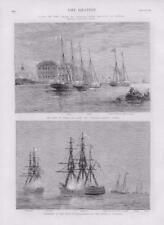 1873 - Antique Print MARITIME Shah Persia Iran Ostend Dover Vigilant Iron (163)