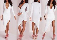 191e829d932 Women Ladies long sleeve plunge asymmetric hem bodycon dress white Size 6-16