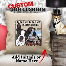 Personalizzato BOSTON TERRIER DOG PUPPY VINTAGE Cuscino copertina personalizzata REGALO CANVAS