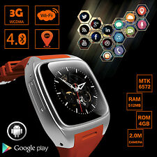 X01 3G Wifi Android 4.4 Dual Core 4GB Smart Watch Heart Rate GPS Bluetooth SIM