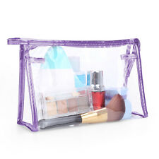 Clear Cosmetic Pouch Makeup Bag PVCWaterproof Transparent Travel Toiletry Purple