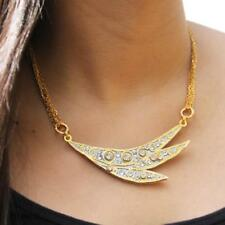 Michal Golan 24K Gold Plated Icicle Swarovski Crystal Dramatic Curved Necklace