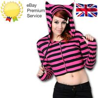 Women's Pink Black Striped Emo Goth Punk Cat Ears Short Hoodie BANNED Apparel